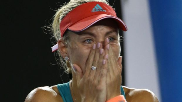 Angelique Kerber celebrates her first grand slam win against Serena Williams in the 2016 Australian Open final.