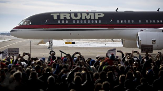 The private Boeing 757 jet owned by Donald Trump makes a bold statement of wealth and power.