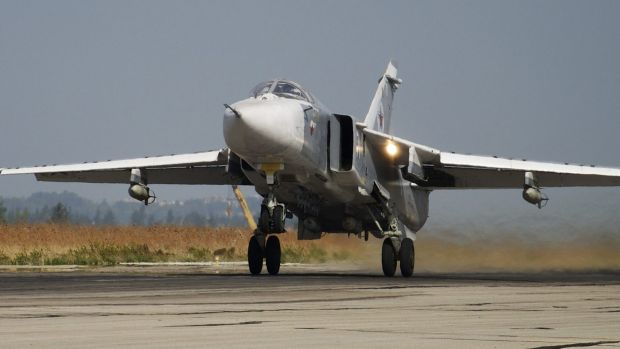 A Russian Su-24 takes off in Syria in October. Turkey said at the weekend a Russian warplane, a Su-34, had again ...