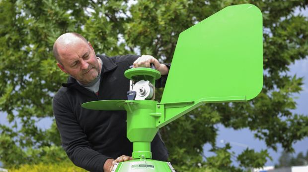 Professor Simon Haberle, of the ANU,  with a pollen monitoring trap used to catch and count pollen for the Canberra ...