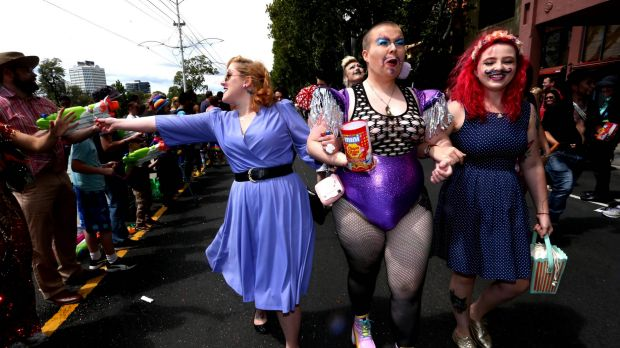 Revelers enjoy the day at the annual Misdsumma Pride March in St Kilda.