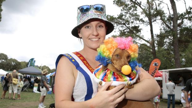 Sarah McCreath, of Bonython ,with her dog Snags that won both the Werriwa Wiener Dash race and the Dapper Dachshund ...