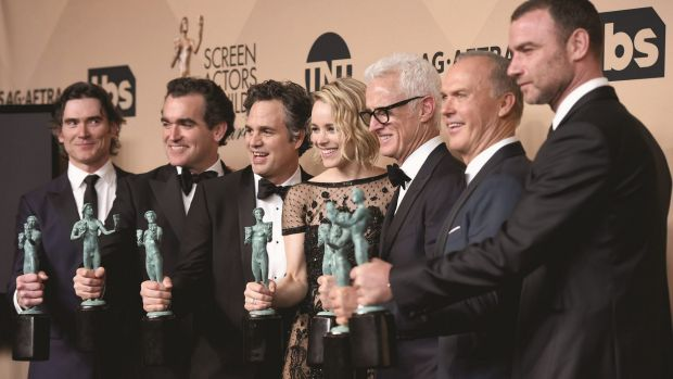 Billy Crudup, Brian d'arcy James, Mark Ruffalo, Rachel McAdams, John Slattery, Michael Keaton and Liev Schreiber with ...