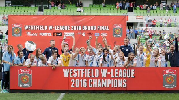 Crowning glory:  Melbourne City celebrate winning the 2016 W-League Grand Final.
