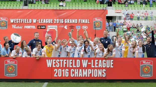 Davey celebrates with Melbourne City teammates after the W-League grand final.