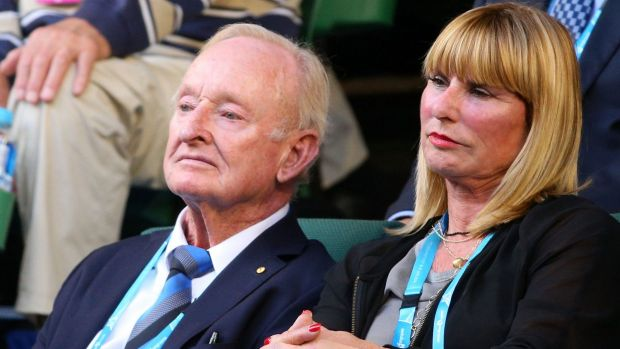Rod Laver watches the men's singles final at the Australian Open.