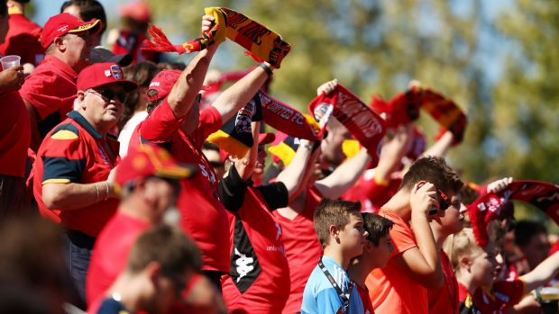 Red or dead: Home fans show support at Coopers Stadium.