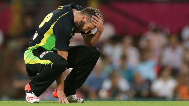 Andrew Tye couldn't stop India after they needed 17 to win off the last over.