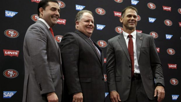"""""""He works hard and I would expect him to make a nice jump from year one to year two"""": Trent Baalke, right, with 49ers ..."""