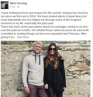Mick Fanning's post on Facebook
