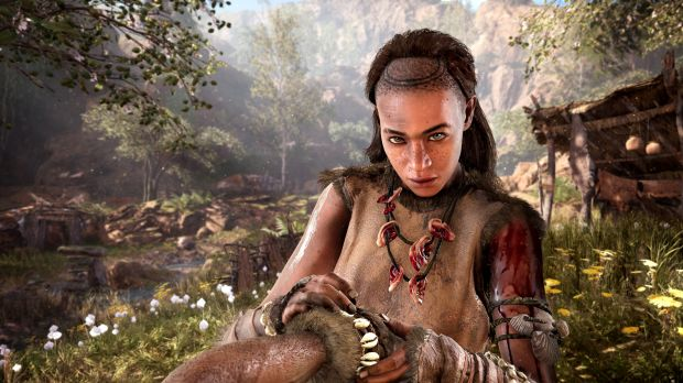 Characters speak a variation of Proto-Indo-European in the game, but much of the communication is non-verbal.