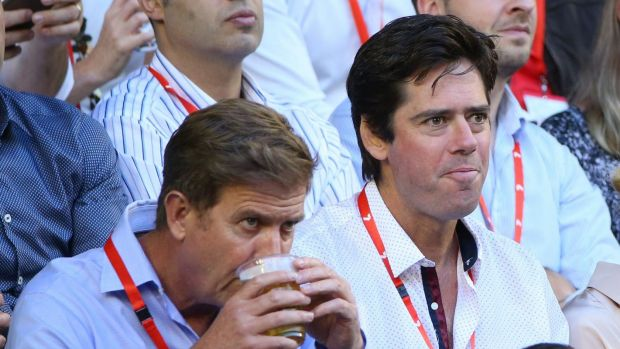 Tim Worner (left) and AFL chief executive Gillon McLachlan at the Australian Open tennis men's final in 2016.