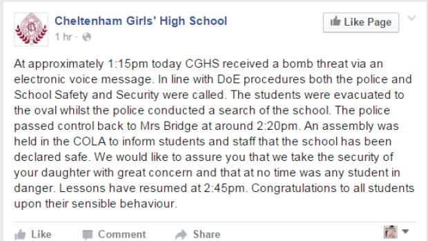 Cheltenham Girls High School confirmed it had received a bomb threat via its Facebook page.