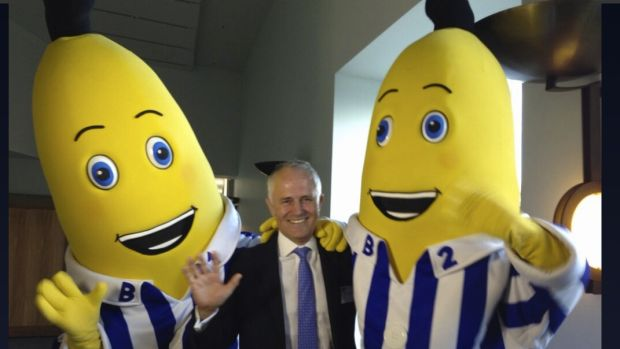 Malcolm Turnbull with the ABC Bananas in Pyjamas.