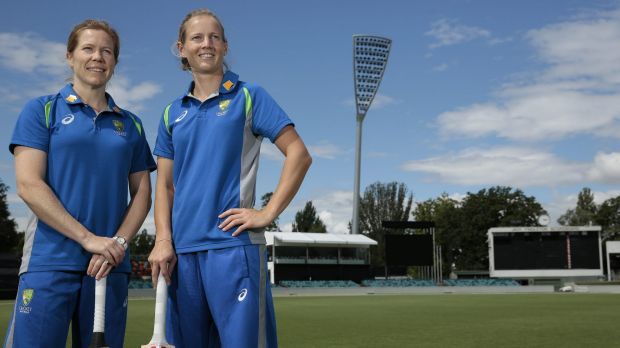 All set: Southern Stars vice-captain Alex Blackwell and captain Meg Lanning at Manuka Oval ahead of the women's one-day ...