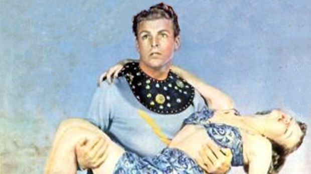 Buster Crabbe as Flash Gordon in the film <i>Flash Gordon Goes to Mars!</i>
