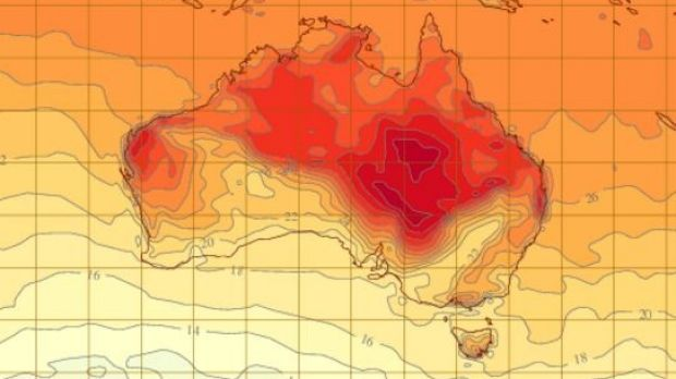 The Bureau of Meteorology released a heatmap estimating the expected hottest regions of Australia on Tuesday.