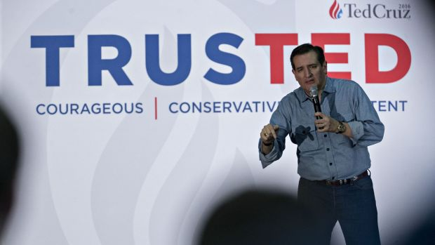 Close caucus battle ... Senator Ted Cruz, a Republican from Texas and 2016 US presidential candidate, speaks during a ...