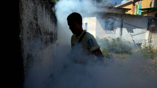 A municipality worker fumigates for mosquitoes in Caracas, Venezuela.