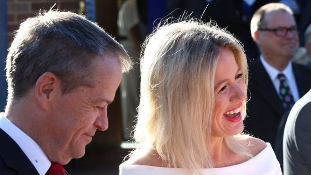 Opposition Leader Bill Shorten and Chloe Shorten arrive for the ecumenical service in Canberra on Tuesday.