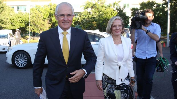 Prime Minister Malcolm Turnbull and Lucy Turnbull  arrive for church in Canberra on Tuesday morning.