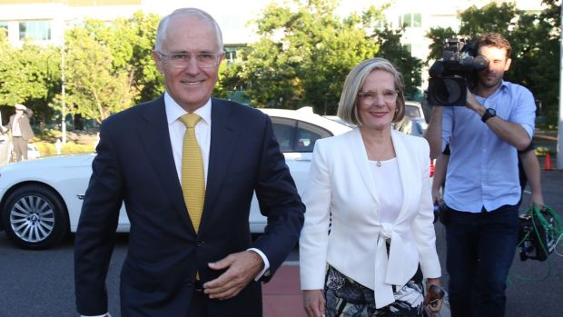 Prime Minister Malcolm Turnbull, pictured with wife Lucy Turnbull on Tuesday morning, has told colleagues a double ...