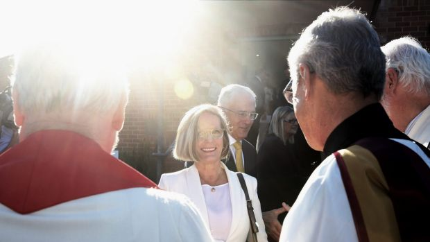 Prime Minister Malcolm Turnbull and Lucy Turnbull depart the ecumenical service on Tuesday.