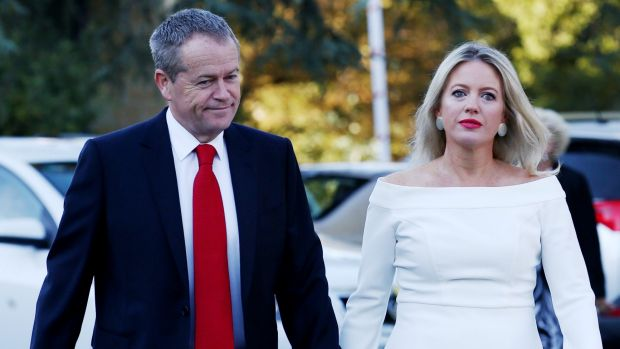 Opposition Leader Bill Shorten and Chloe Shorten arrive for the ecumenical service marking the beginning of the ...