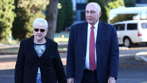 Deputy Prime Minister Warren Truss and his wife Lynn arrive for the ecumenical service on Tuesday.