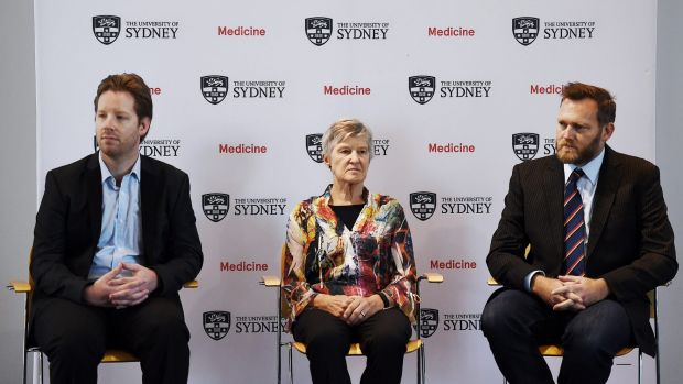 Dr Grant Hill-Cawthorne (left), Professor Lyn Gilbert and Dr Cameron Webb talk about the Zika virus at Sydney University ...