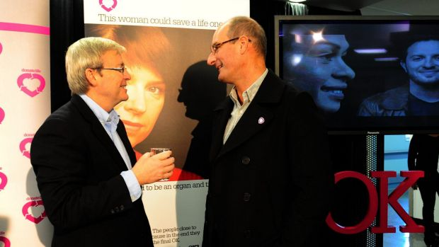 Then prime minister Kevin Rudd and organ donor advocate David Koch at the launch of an organ donation campaign in 2010.