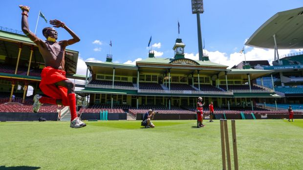 Leap of faith: The Maasai Warriors were introduced to the SCG on Tuesday ahead of this week's Marathon Cricket event.