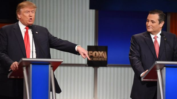Donald Trump and Ted Cruz at a Republican candidates debate in January.