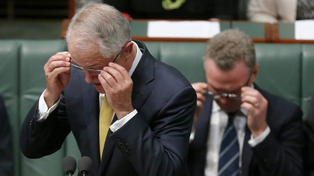 Prime Minister Malcolm Turnbull and Minister for Industry, Innovation and Science Christopher Pyne during question time ...