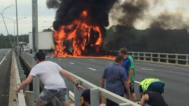 A truck explodes in flames on the M1 near Nerang