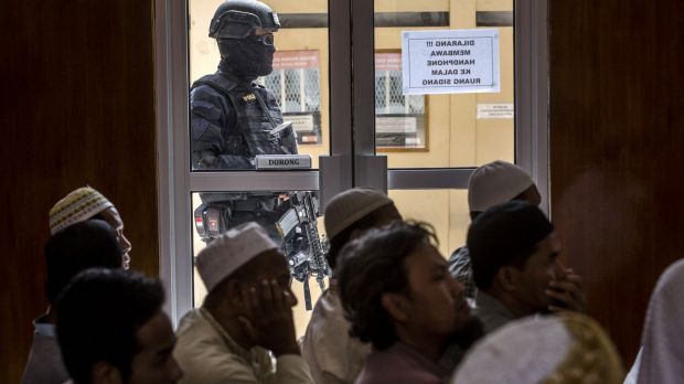 Supporters of Abu Bakar Bashir attend his court hearing in Cilacap in January.