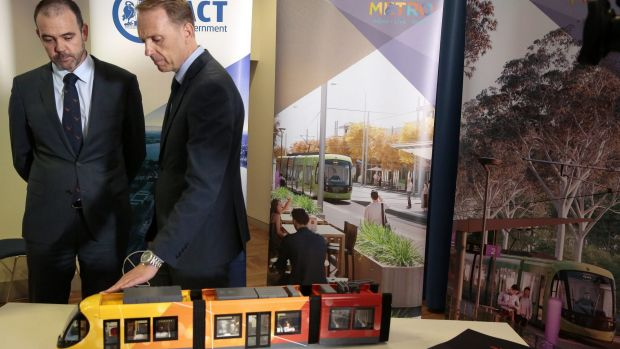Canberra Metro chairman Mark Lynch and Capital Metro Minister Simon Corbell in February.