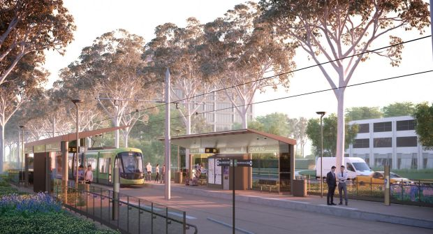 An artist's impression of a light-rail station at Gungahlin.