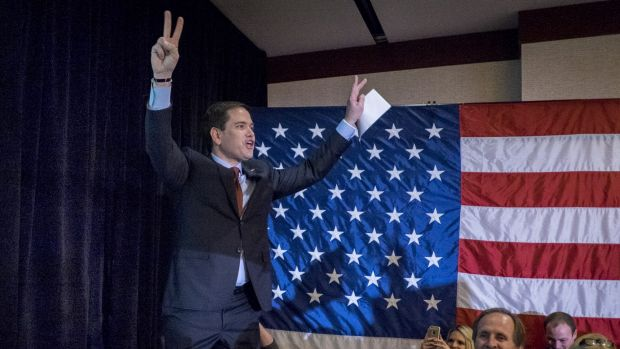 Republican presidential candidate Senator Marco Rubio gave what sounded like a victory speech as he took the stage after ...