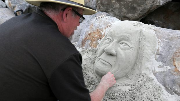 Sand sculptor Richard, from Ballarat, has been spending his holiday time on East Beach in Port Fairy creating ephemeral ...