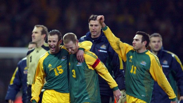 Glory days: The Socceroos celebrate victory over England at Upton Park the last time they met.