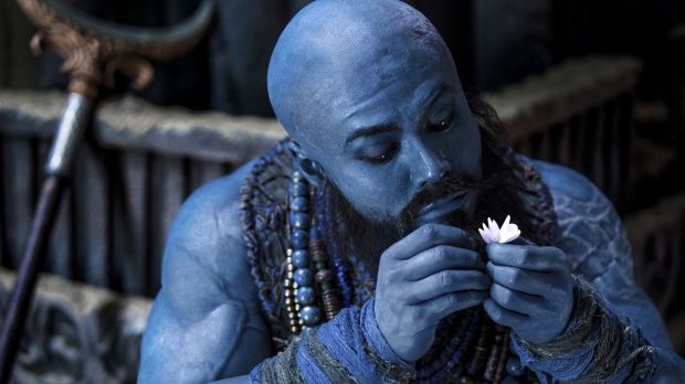 The blue-skinned Sha Wujing (Him Law) in <i>The Monkey King 2</i>.