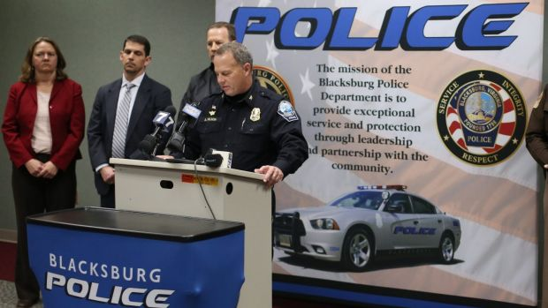 Blacksburg Police Chief Anthony Wilson speaks during a news conference on January 30.
