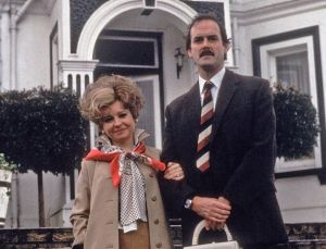 Sybil (Prunella Scales ) and Basil Fawlty (John Cleese) in Fawlty Towers.