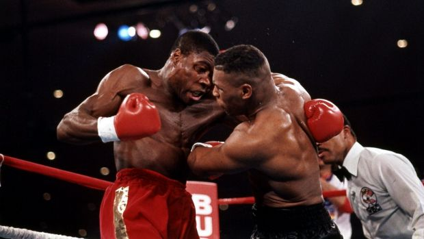 Frank Bruno in action against then world heavyweight champion Mike Tyson in 1989.