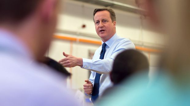 British Prime Minister David Cameron speaks to Siemens factory staff in Chippenham on Tuesday.