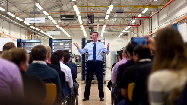 British Prime Minister David Cameron at the Siemens Chippenham plant on on Tuesday.