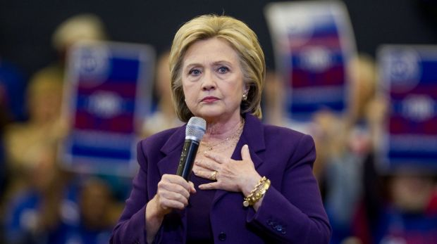 Hillary Clinton pauses while speaking at a campaign event in New Hampshire.