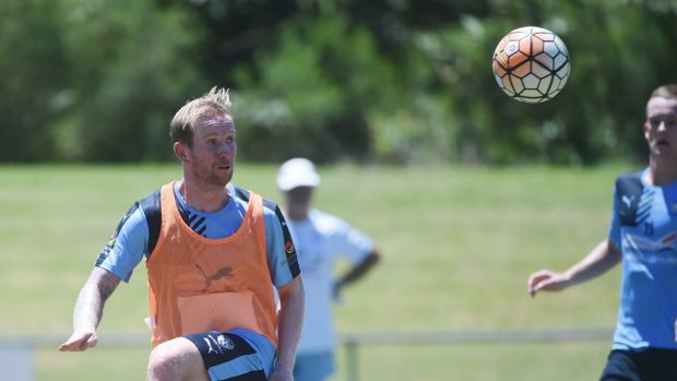 Back home: David Carney training with Sydney FC on Wednesday.