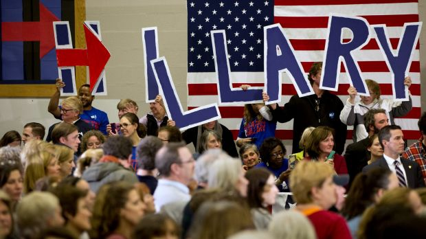 """Supporters of Democratic presidential candidate Hillary Clinton hold up letters spelling """"Hillary"""" in New Hampshire on ..."""
